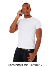 Attractive black man talking on the phone. All on white background.
