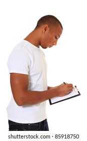 Attractive black man writing on clipboard. All on white background.