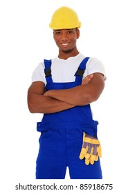 Attractive black manual worker. All on white background.