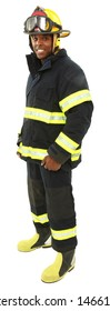 Attractive black middle aged man in fire fighter's uniform with clipping path.
