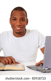 Attractive black student. All on white background.