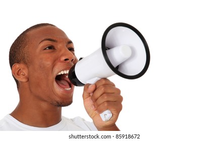 Attractive black using megaphone. All on white background.