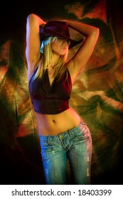 attractive blond dancing, colorful background