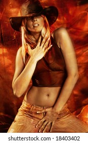 attractive blond dancing, red and golden background