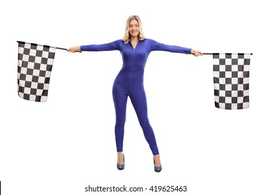 Attractive blond girl waving checkered race flags isolated on white background