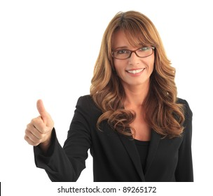 Attractive blond mature business woman smiling and raising her thumbs up ( against white background with copy space )