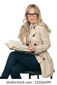 attractive blond woman reading book isolated