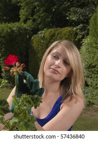 Attractive blond young woman gardening wearing a blue top