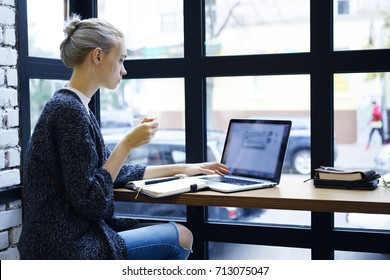 Attractive blonde female designer watching training webinar for improving skills during coffee break in cafe, professional marketing expert reading news browsing information on laptop computer