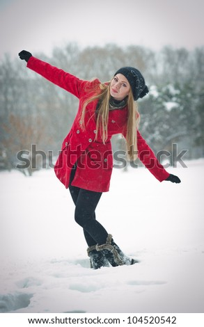 22eb265ac Attractive Blonde Girl Gloves Red Coat Stock Photo (Edit Now ...