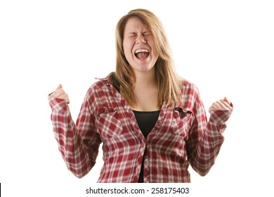 Attractive blonde woman wearing red plaid shirt and screamig