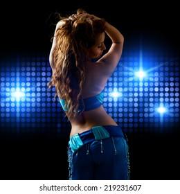 attractive brunette bellydancer on stage