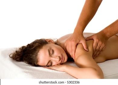 attractive brunette getting a massage