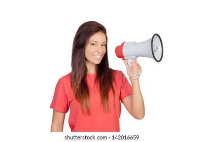 Attractive brunette girl with a megaphone isolated on a over white background
