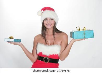 Attractive brunette girl in santa cloth