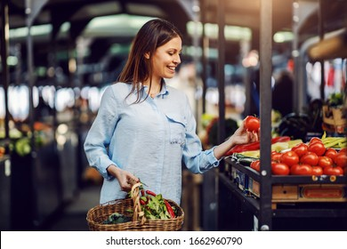 Attractive brunette holding basket with vegetables and holding fresh tomato at farmers market.