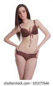 Attractive brunette posing in lingerie