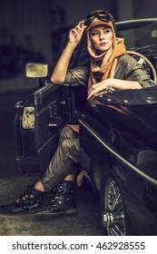attractive brunette woman in car