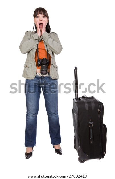 attractive brunette woman with suitcase. over white background