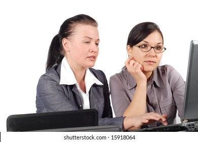 attractive brunette women working together