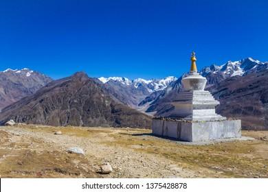 Attractive Buddhist Stupa at Rohtang Pass, Manali, India.
