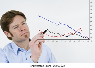 Attractive business men looking at chart