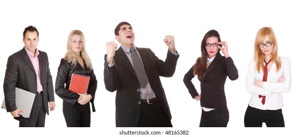 An attractive, business team meeting as a group