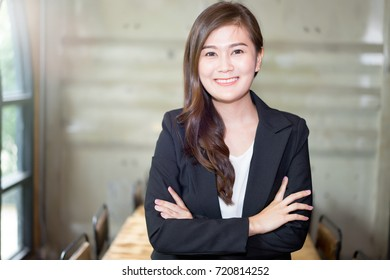 Attractive business woman Asian, Portrait of a young smiling woman Asian with copy space