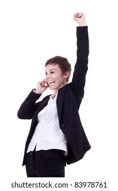 attractive business woman on the phone winning over white