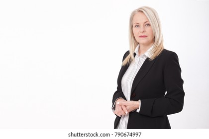 Attractive business woman in a suit isolated on white background