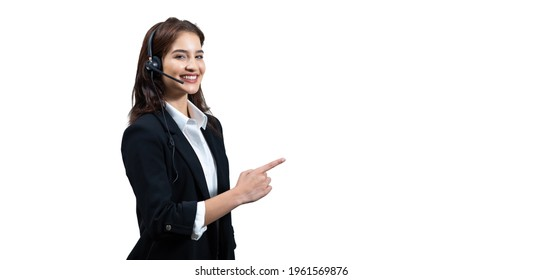 Attractive business woman in suits and headsets are smiling while working isolate with path on white background. Customer service assistant working in office. VOIP Helpdesk headset. Panorama banner
