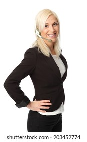 Attractive business woman wearing a black jacket with a white shirt. Wearing a headset . White background.