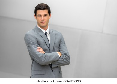 Attractive businessman portrait posing with successful expression CEO or head of company