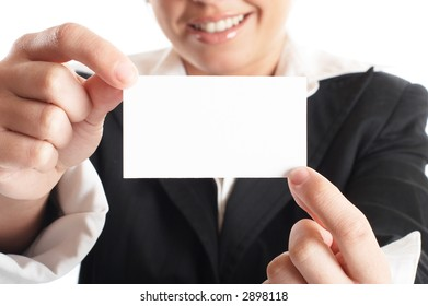 Attractive Businesswoman Closeup - presenting her business card