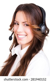 attractive businesswoman with a headset on isolated background