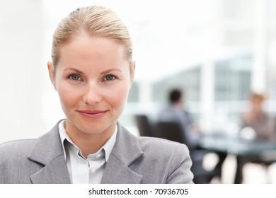 Attractive businesswoman in her office