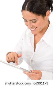 Attractive businesswoman holding touch tablet screen computer  typing close-up portrait