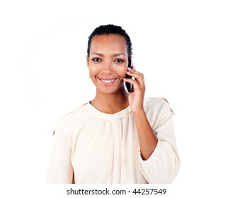 Attractive businesswoman on phone against a white background