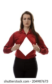 attractive businesswoman pulling her shirt apart doing a superhero business poses