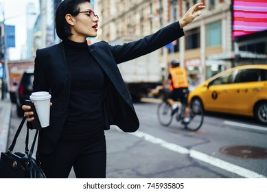 Attractive businesswoman with red lips raising had to call yellow cab on New york avenue, confident trendy dressed female manager hailing on road catching taxi holding coffee to go getting to work