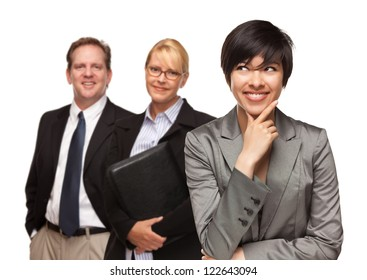 Attractive Businesswoman Smiling with Team Isolated on a White Background.