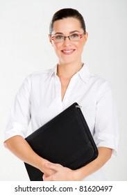 attractive businesswoman studio portrait on white