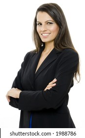 An attractive businesswoman in suit on white background