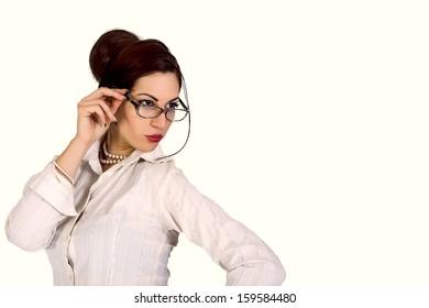 attractive businesswoman wearing eyeglasses