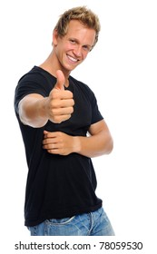 Attractive casually dressed man gives the thumbs up, isolated on white