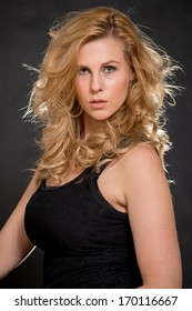 Attractive caucasian blond fashionable woman