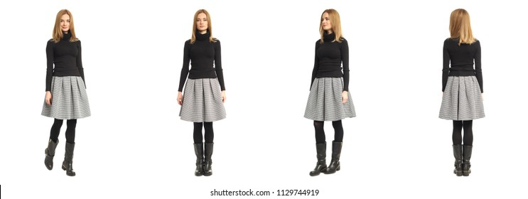 Attractive caucasian model in black sweater and gray skirt