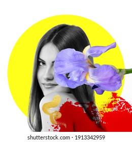Attraktives, fröhliches Mädchen mit wunderschönen Iris-Blumen und hellen Farbstrichen, modernes Modedesign ideal für Plakate, Landungsseiten, Deckeln