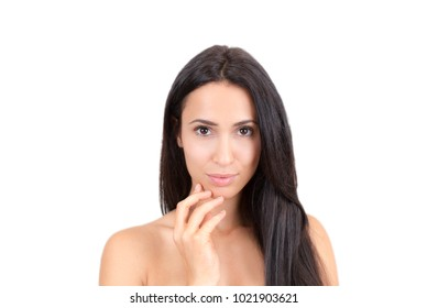 Attractive clean makeup young woman