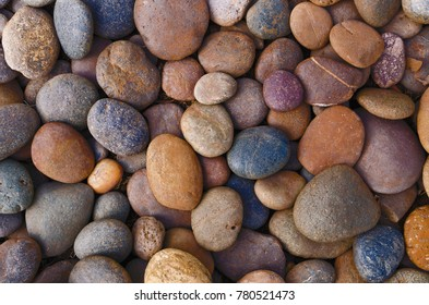 Attractive close up beautiful colorful of river pebble stones photograph background